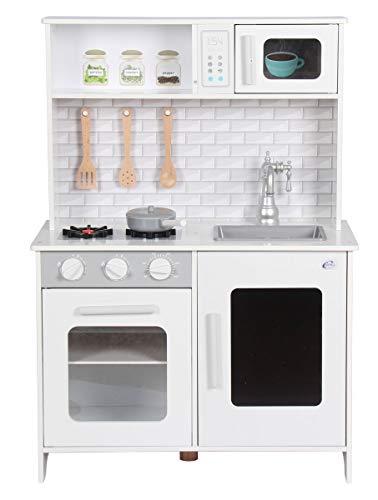 Coemo Weiße Spielküche aus Holz inkl. Gas-Kochfeld Backofen Mikrowelle Küchen-Zubehör aus Holz herausnehmbares Spülbecken