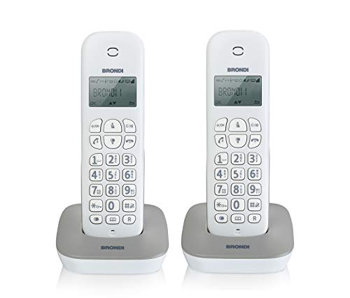 Brondi Gala Twin Telefono Cordless, Bianco/Grigio