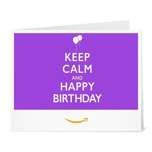 Cheque Regalo de Amazon.es - Imprimir - Keep Calm and Happy Birthday