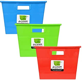 Plastic Storage Locker Bins with Handles Pack of 3 Red Blue Green Stackable Baskets Classroom Play Book Bin Dry-Erase Square Organization Tub For Shelves Colorful Containers For Organizing Toys