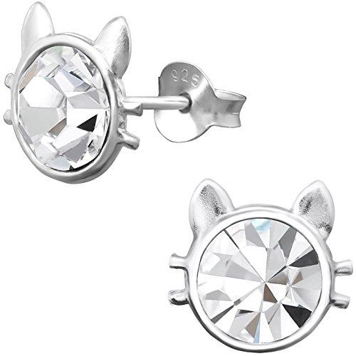 jayare Ni/ños Pendientes Unicornio Plata de ley 925/brillantes cristales Lila Blanco 11/x 8/mm ni/ña pendientes