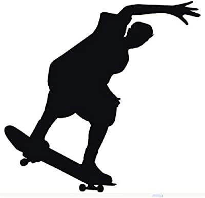 Gadgets Wrap Wall Decals 29CM Wall Stickers Black Color - (Skateboarding5)