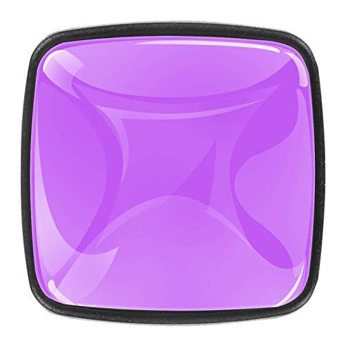 Juego de 4 tiradores de cajón y pomos para cajones con tornillos, cristal de cristal, para cajones, cajones, armarios, puertas de cocina y armarios, diseño de color morado y violeta