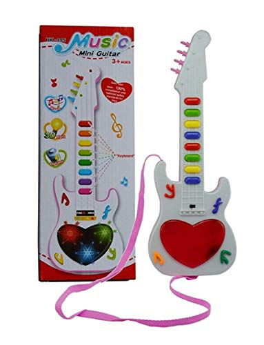 Vikas Gift Gallery Plastic Musicale Mini Guitar Instrument with Sound & 3D Lighting Learning Toy for Kids, Multicolor