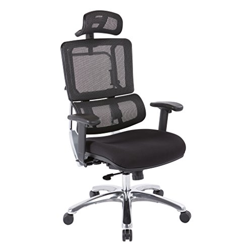 Office Star Breathable Black Vertical Mesh Back and Padded Coal FreeFlex Mesh Seat Managers Chair with Adjustable Arms, Polished Aluminum Accents, and Adjustable Headrest