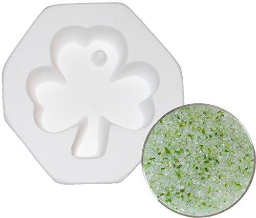 Shamrock with Hole Pendant and Designer Shamrock Shuffle Frit Sampler Kit, 96COE - Fusible Glass Jewelry Mold