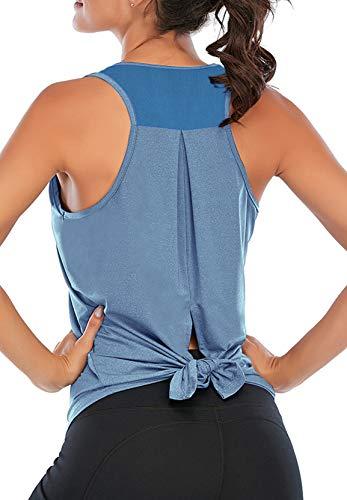 1//2 Pack Women Workout Tanks Crop Top Shirts for Women Crossed Tie Back Yoga Tanktop Loose Athletic Tees