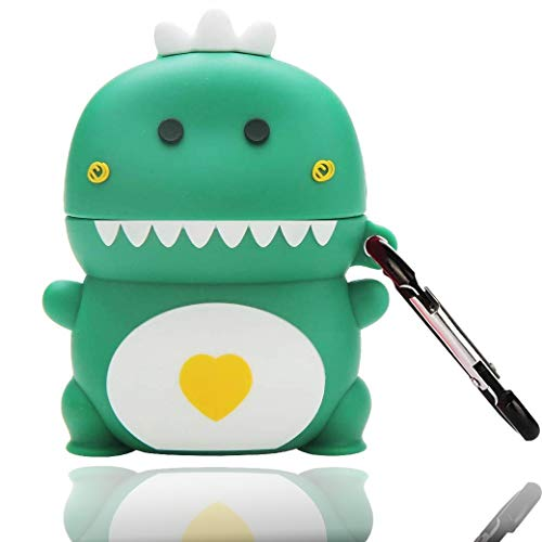 Xuyoz Airpods Case Cover, Airpods 2 Case, Cute 3D Cartoon Silicone Airpods Protective Skin Case with Keychain Animal Funny Design Compatible with Airpods Charging Case 1& 2, Dinosaur