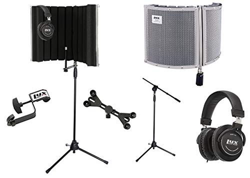 LyxPro VRI 30 Portable Acoustic Isolation Instrument Shield, Sound Absorbing Panel with Tripod Microphone Stand, Universal Smartphone Tablet Holder Detachable Clip & Studio Professional Headphones