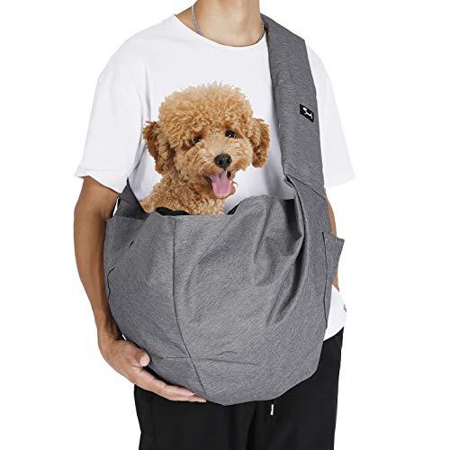 PETTOM Single-Schulter Sling Bag Oxford Material Adjustabale Hundetragetuch Stable Soft Tragetücher für Hunde Grau