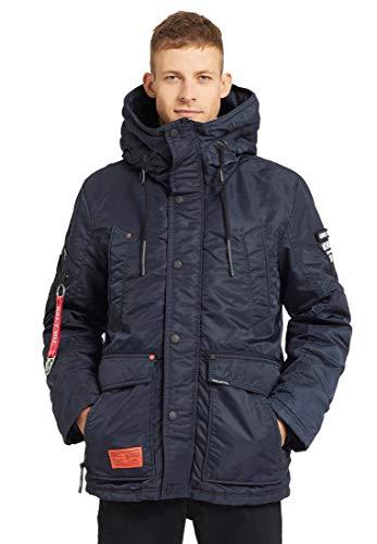 khujo Herren Jacke Drago mit Strickkragen Winterjacke mit Kapuze und vielen Taschen