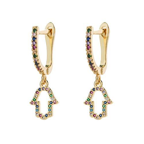 Gymqian Ladies Handmade Earrings Women Micro Paved Cz Stud Earring Classic Circle Rainbow Copper Earrings Geometric Crystal Tassels Jewelry 10 Retro / 25