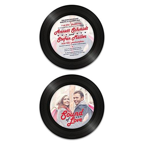 30 x Runde Hochzeitseinladungen Einladungskarten Hochzeit - Schallplatte Sound of Love