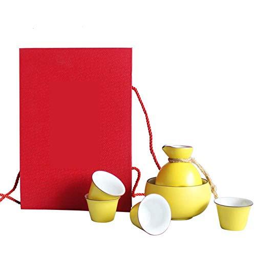 SLRMKK Japanische Keramik Sake Set Warme Sake Pot mit 4 Sake Cups Geschenkverpackung Tea Party, Gelb