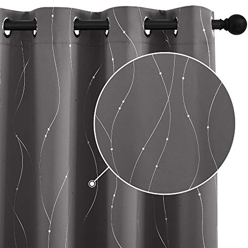 StangH Blackout Curtains Wave Line with Dots Foil Print Design Curtains Energy Efficient Thermal Insulated Curtains with Grommet for Dining Room, W52 x L63 inches, Grey, Set of 2