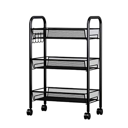 Trolley CXIA - Carrito con ruedas de malla para cocina, con 3 cestas, 45 x 27 x 63 cm, color negro
