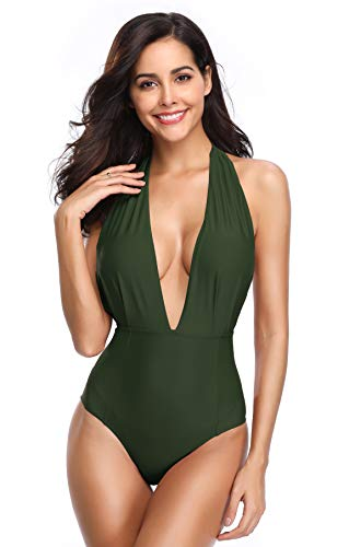 SHEKINI Women's Monokini Swimwear Deep V-Neck Plunge Backless High Waisted One Piece Swimsuit (Army Green, Medium)