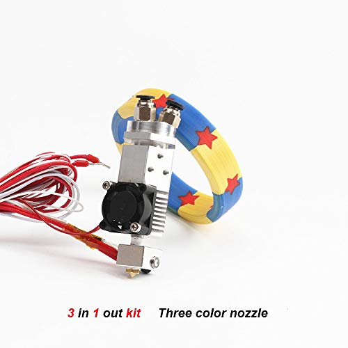 HUANRUOBAIHUO 3D-printer delen 3 in 1 Multi-color extruder hete einde Kit drie kleuren schakelen hotend kit for 0.4mm 1.75mm 3D Printer Parts (Size : 3 in 1 out 12V)