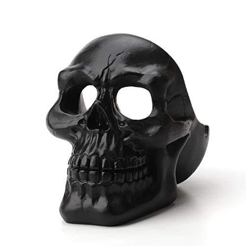 LOMJK Cráneo Cenicero, Cenicero de Almacenamiento de Resina de Escritorio para el hogar Creativo, Utilizado para la decoración del hogar/Oficina, Damas y Hombres (Color : Black)