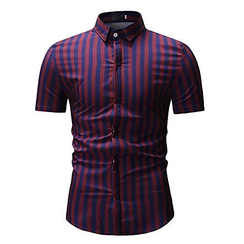 Camisa Hombres Básica A Cuadros/Rayas Botón Placket Hombres Camisa Ocio Ajustados del Cuello Kent Verano...