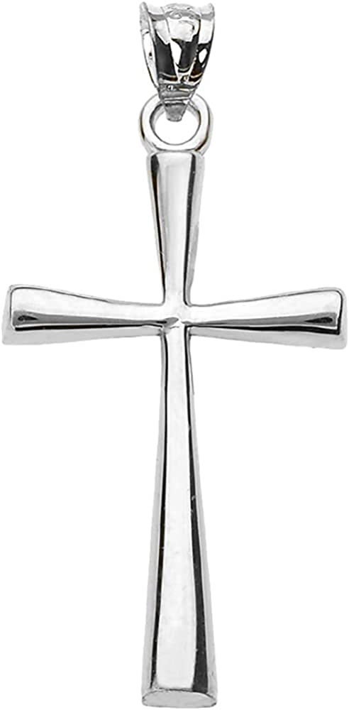 .925 Sterling Silver Fees free Simple Cross Flared Classic Selling rankings Pendant