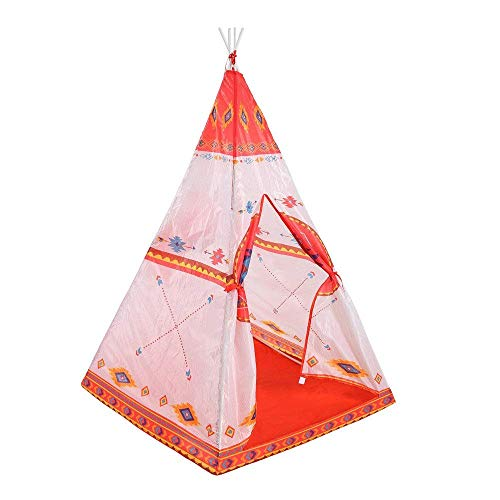 MLL Play Tents for Girls Indoor Tent Ethnic Style Orange red Indian Tent PVC Pole Design Children Space Folding Game Tents Room Decoration Teepee kids play tent for girls