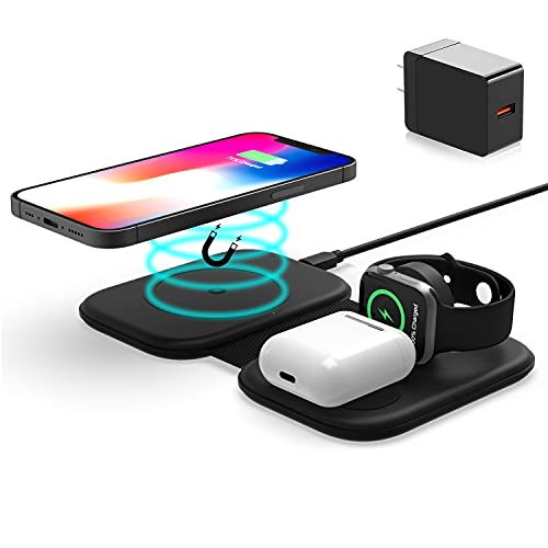 Magnetic 3 in 1 Wireless Charging Station Fast Wireless Charger Compatible with iPhone 12 Pro Max/12 Pro/12/Mini/11/11 Pro Max/X/XS/XR/XS Max/8/8 Plus,Apple Watch Series 6/SE/5/4/3/2 & AirPods 2/Pro