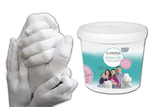 3D-Handabdruck-Set bambelina® für Familie oder Großeltern, Hochzeitspaar, Kinder, Babys, ...eine zauberhafte Erinnerung in 3 D, Deutsches Produkt