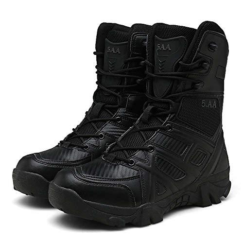 Bititger - Botas de desierto militares de piel, impermeables, con cremallera, botas tácticas y de combate para hombre, para patrullas, de seguridad, para policías, color Negro, talla 39 2/3 EU