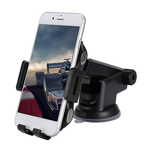 ASHATA Qi Wireless Car Charger Mount, 360 ° rotatie 10 W/7,5 W/5 W snellader auto-telefoonhouder met Mute-motor, auto-lamp voor Android iOS Smartphone