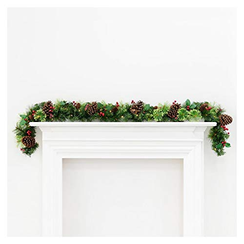 Mr Crimbo Pre-Lit Decorated Artificial Christmas Garland Green Branches With Pine Cones Holly Berries & Warm White LED Lights Indoor/Outdoor Xmas Decoration 6ft