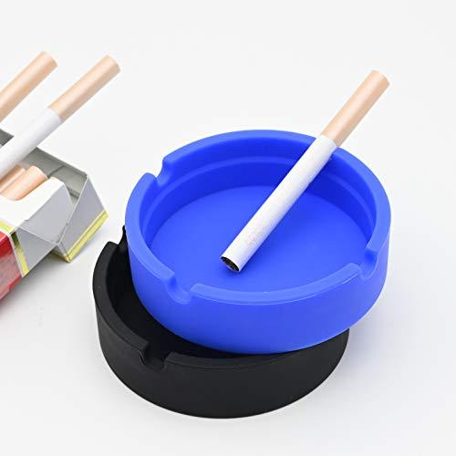 Silikon-Aschenbecher, 2 Stück, rund, hitzebeständig, Zigarren-Aschenbecher mit 4 Schlitzen, Aschenbecher für drinnen und draußen, Heimdekoration, Büro (blau + schwarz)