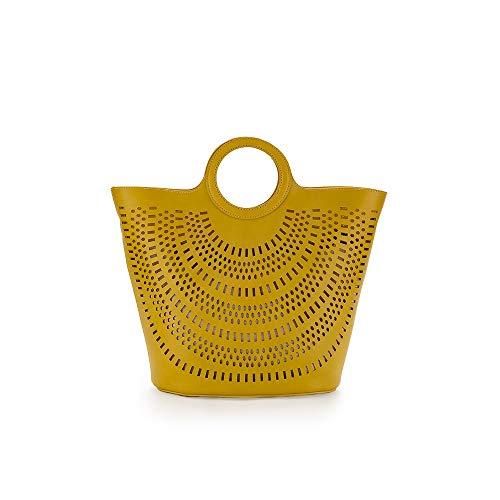 PACO MARTINEZ | Bolso tote de mano mujer amarillo perforado...