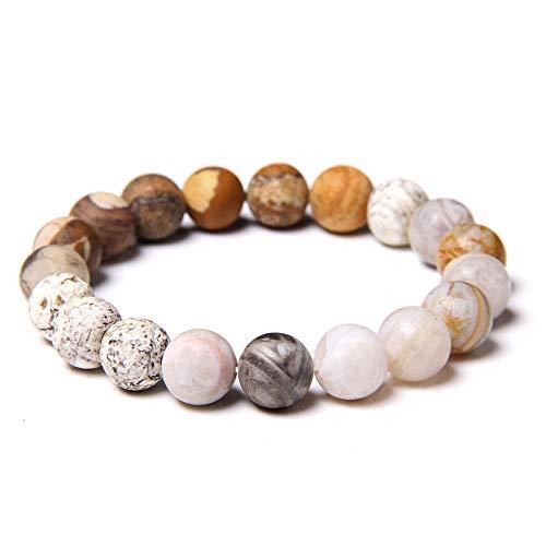 AIMICONG Mens Bead Bracelets Mixed Natural Stone Beads Bracelets Men Turquois Snowflake Jaspers Bangle Elastic Puselra Jewelry B 23Cm