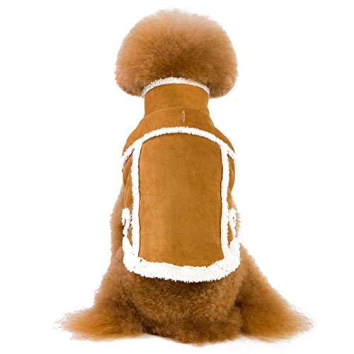 CHEMYAO Kleding Voor Huisdieren, Katoenen Jas Voor Huisdieren, Suède Hondenjas, Mouwloze Klassieke Herfst- En Wintermode-jas Voor Kleine En Middelgrote Honden - 2 Kleuren