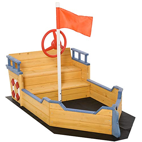 Outsunny Kids Sandbox Pirate Ship Play Boat w/ Bench Seats and Storage, Cedar Wood