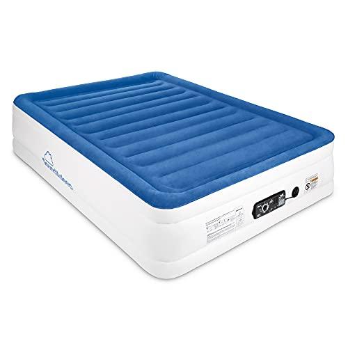 SoundAsleep CloudNine Series Queen Air Mattress with Dual Smart Pump Technology by SoundAsleep Products (Blue Top / Beige Body, Queen)