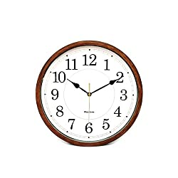 Classic Oak Rustic Farmhouse Wall Clock, Wood-Simulated Vintage Bronze, Complete Quite Non-Ticking Silent Sweep Quartz Movement, Antique Style, 12.6 inch. Diameter, Plastic Frame, ABS Glass Front