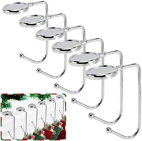 365park Christmas Stocking Holders for Mantle 6 Pack Mantel Stocking Hangers Metal Hooks for product image