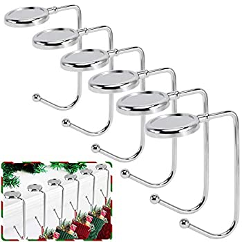 365park Christmas Stocking Holders for Mantle 6 Pack Mantel Stocking Hangers Metal Hooks for Fireplace Christmas Xmas Party Decoration  Silver