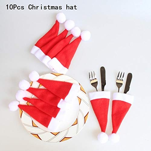 GuGio 10pcs Mini Christmas Hat For Wine Bottle Covers Spoon Fork Knife Cutlery Bags Tableware Pockets Silverware Holders For Christmas Feast Dinner Table Decoration Gift