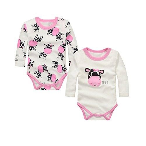 CuteOn 2 pcs Manches longues en Coton Newborn Infant Bébés garçons Fille Bodysuit Romper Gift Set 06 Vache laitière 24 Mois