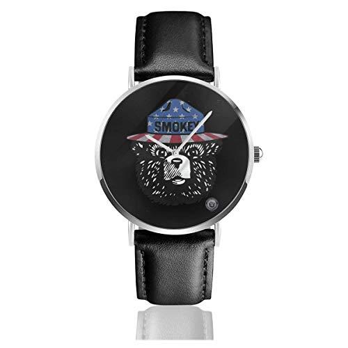 Relojes Anolog Negocio Cuarzo Cuero de PU Amable Relojes de Pulsera Wrist Watches Oso Ahumado