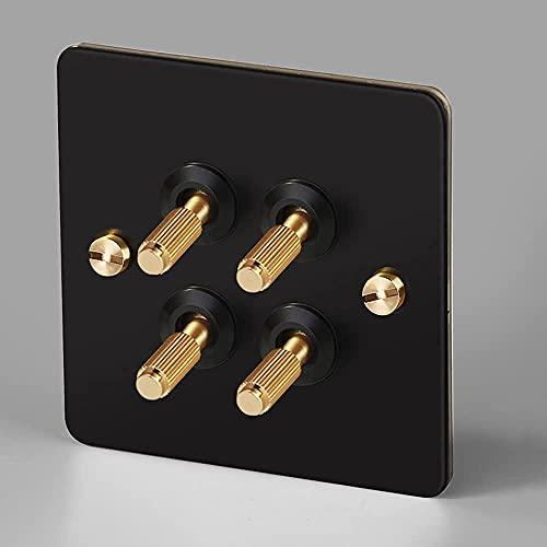Moderno control doble interruptor retro moleteado negro 110-250V Tipo eléctrico 86 interruptor de palanca de alterno de la mejora casa Sockets de la luz Interruptor Interruptores para sala estar hogar