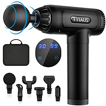 Muscle Massage Gun - TYIAUS Percussion Massager Gun Deep Tissue with 30 Adjustable Speeds and 6 Heads Portable Body Muscle Massager for Office Gym Home Post-Workout Recovery