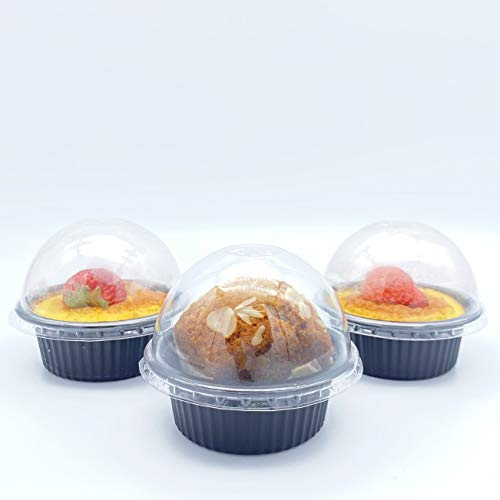Pack of 25 (Dome lid)-Oven & Freezer Safe Plastic Round Baking Container with Clear lid, 150ml Disposable Individual Muffin Baking Cups, Cupcake Baking Cups