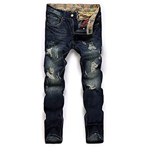 Men's Casual Mid Waist Pant Destroyed Ripped Straight Leg Distressed ...