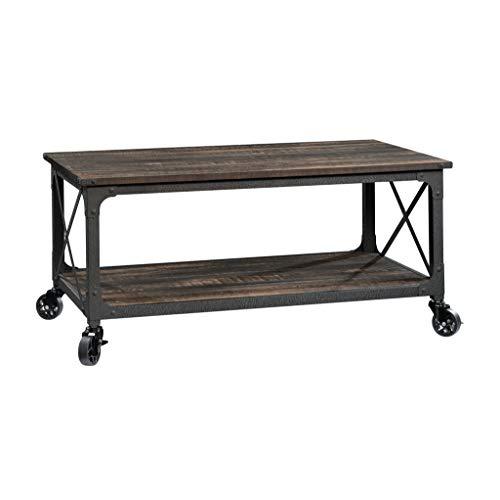 "Sauder Steel River Coffee Table, L: 42.91"" x W: 24.21"" x H: 18.5"", Carbon Oak"