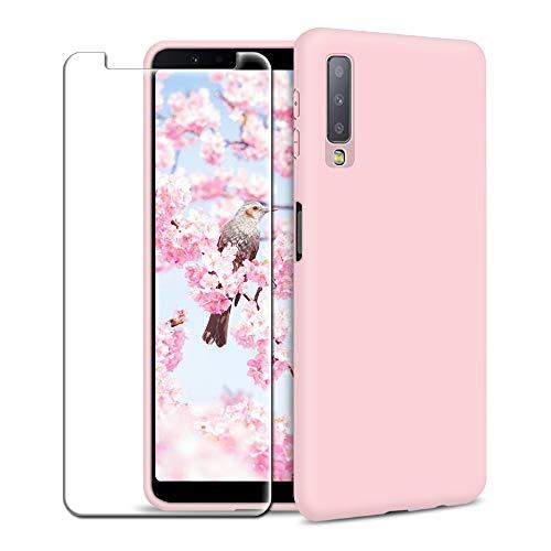 Funda Samsung Galaxy A7 2018 + Protector de Pantalla de Vidrio Templado, Carcasa Ultra Fino Suave Flexible Silicona Colores del Caramelo Protectora Caso Anti-rasguños Back Case - Rosa Claro