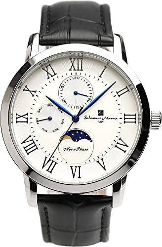 [サルバトーレマーラ] 腕時計 ムーンフェイズ マルチカレンダー 5気圧防水 ビジネス フォーマル メンズ 革ベルト 限定モデル シルバー ホワイト SM21106-SSWH